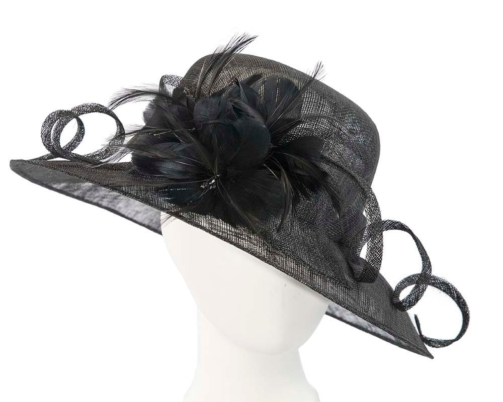 Large black racing hat with bow by Cupids Millinery