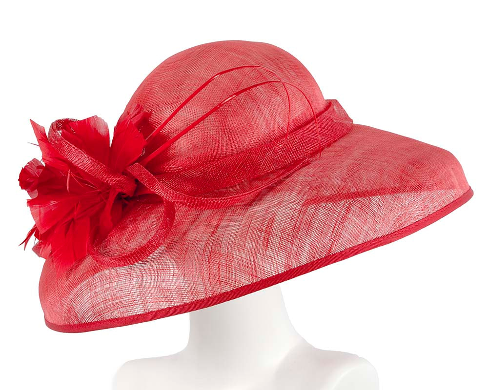 Large Red Ladies Fashion Racing Hat by Cupids Millinery