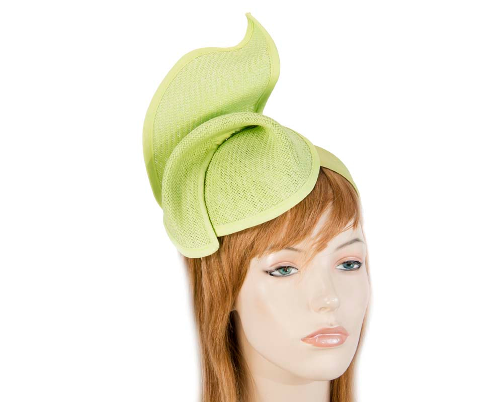 Lime fashion pillbox fascinator hat for races Max Alexander MA564L