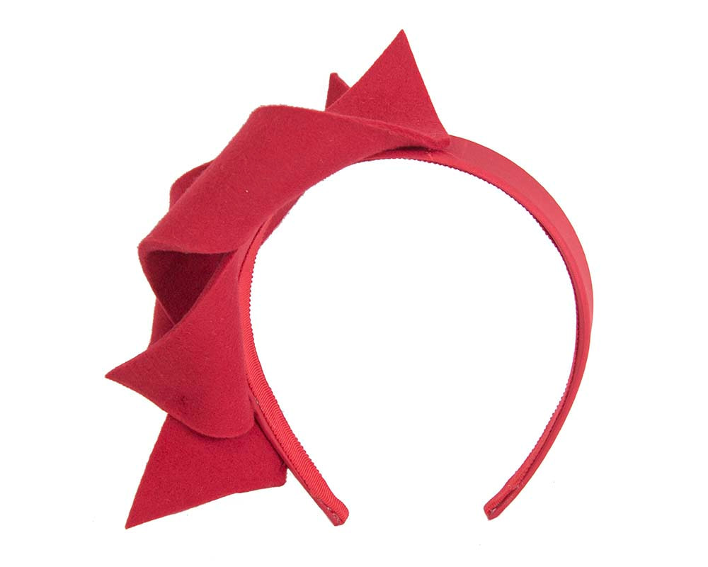 Red felt twisted fascinator headband by Max Alexander