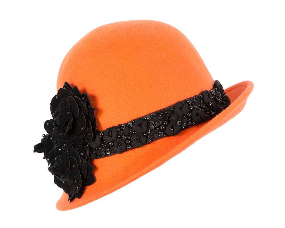 Orange ladies winter felt cloche hat by Fillies Collection