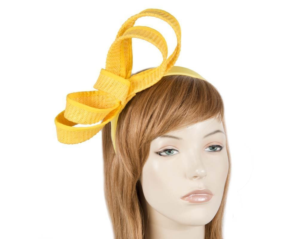 Bright yellow racing fascinator on band by Max Alexander MA700Y