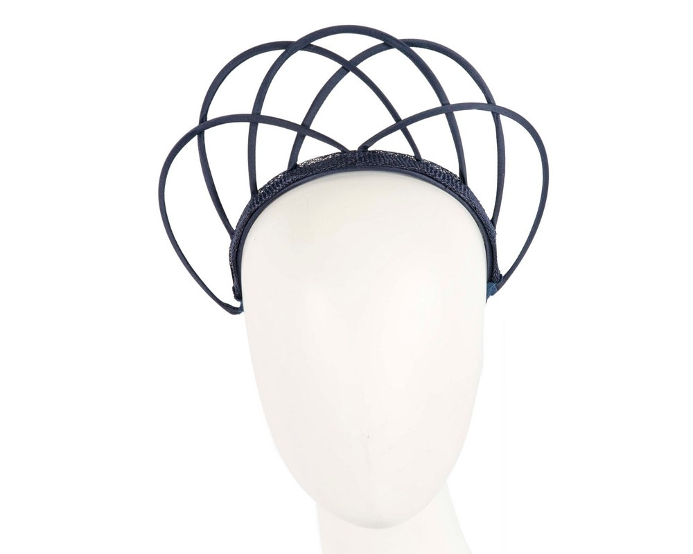 Designers navy crown fascinator by Max Alexander