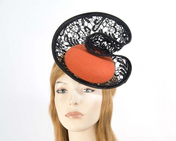 Orange lace autumn winter racing fascinator