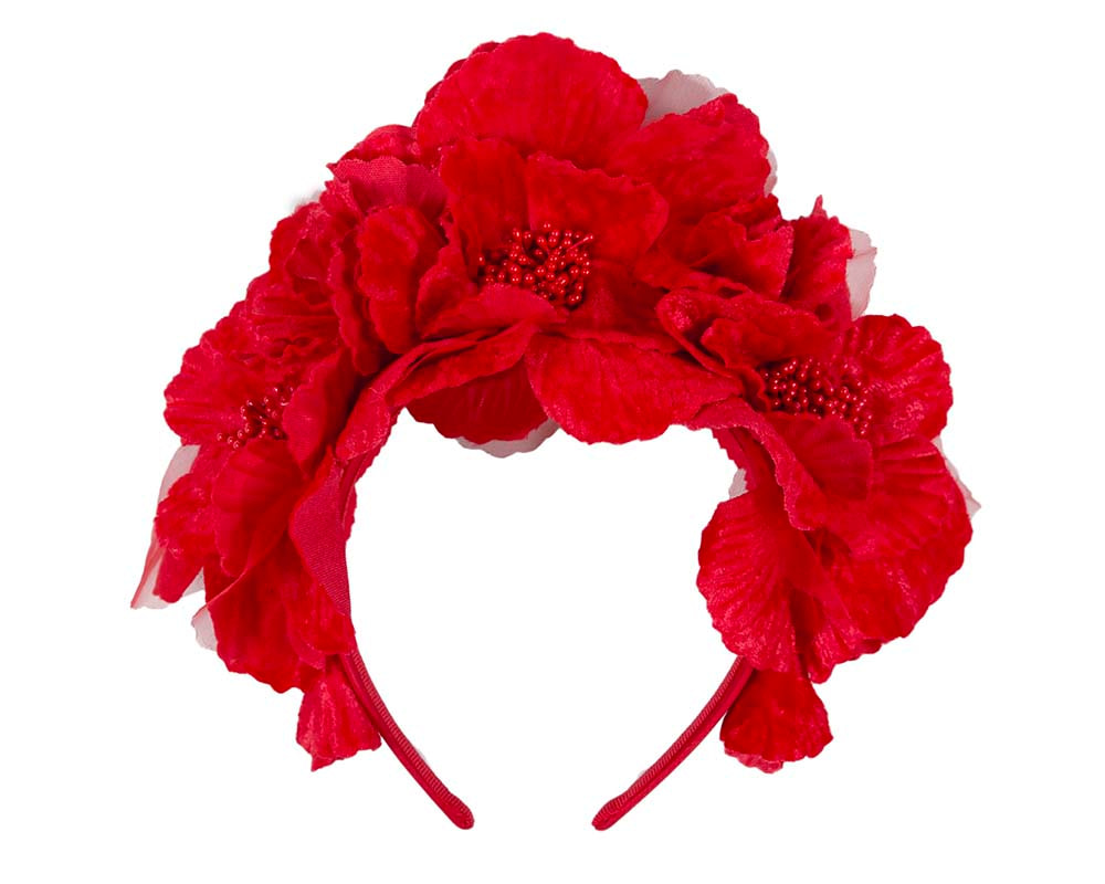 Bright Red flower halo fascinator