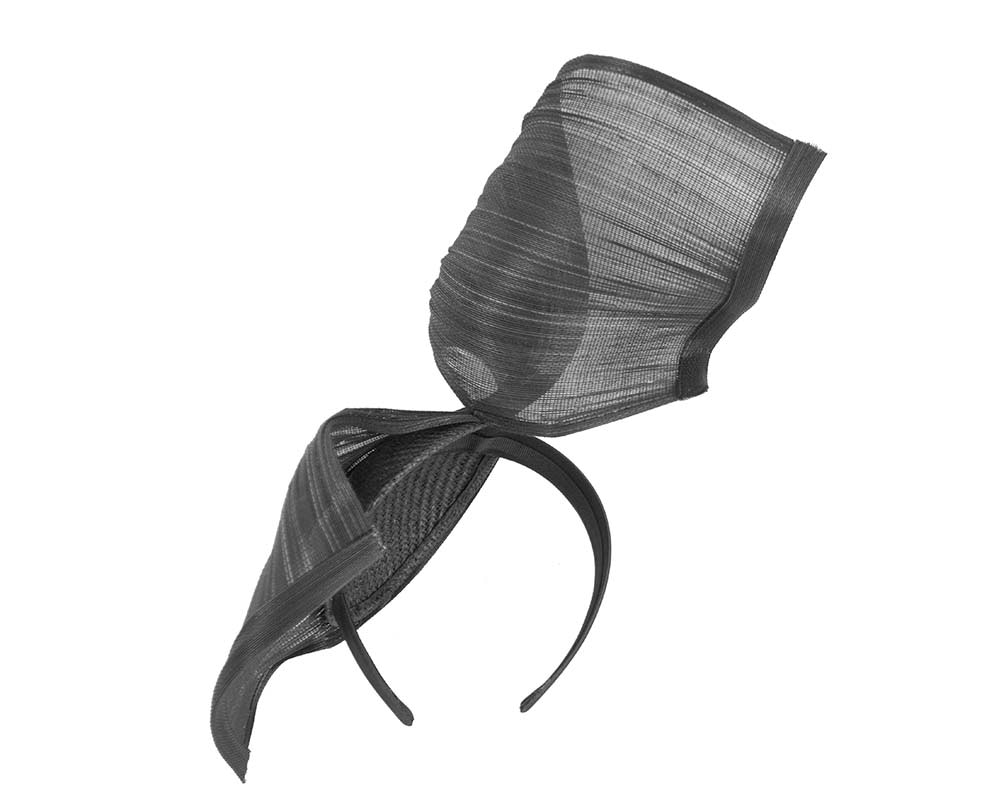 Large black bespoke Jinsin racing fascinator by Fillies Collection