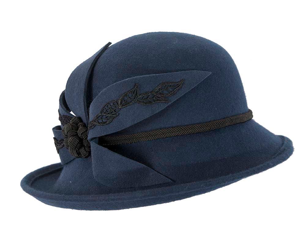 Large navy felt designers winter hat