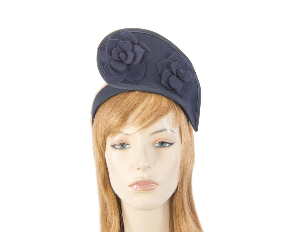 Navy tall winter racing crown fascinator