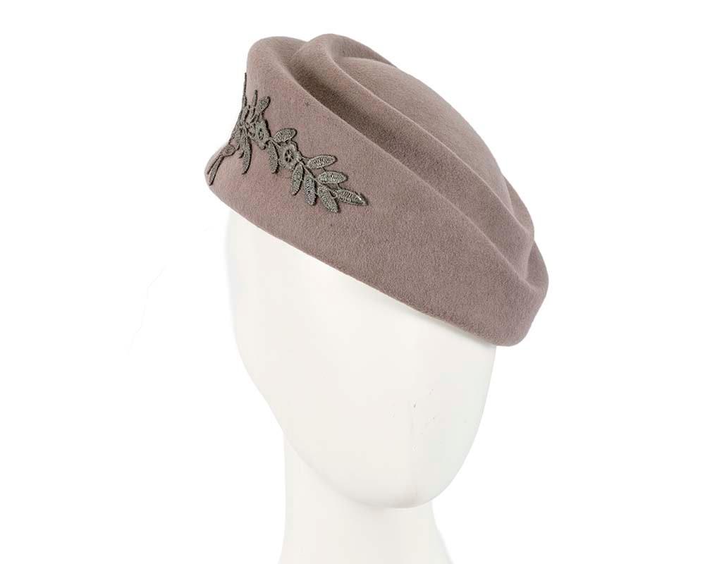 Large grey felt beret hat with lace
