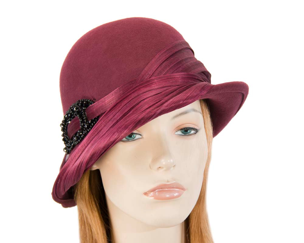 Burgundy wine felt draped cloche hat