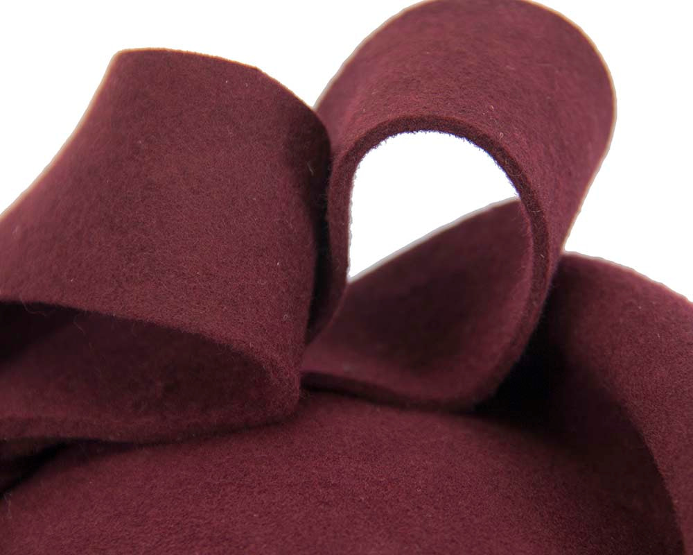 Burgundy felt winter fascinator hat by Fillies Collection