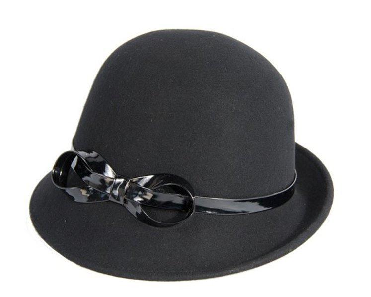 Black felt ladies cloche hat