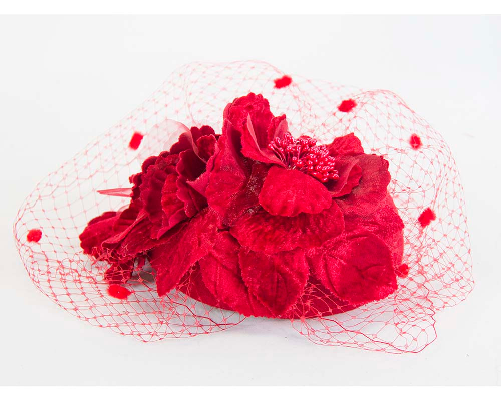 Red felt pillbox with flower and veiling for winter racing buy online in Aus F574R