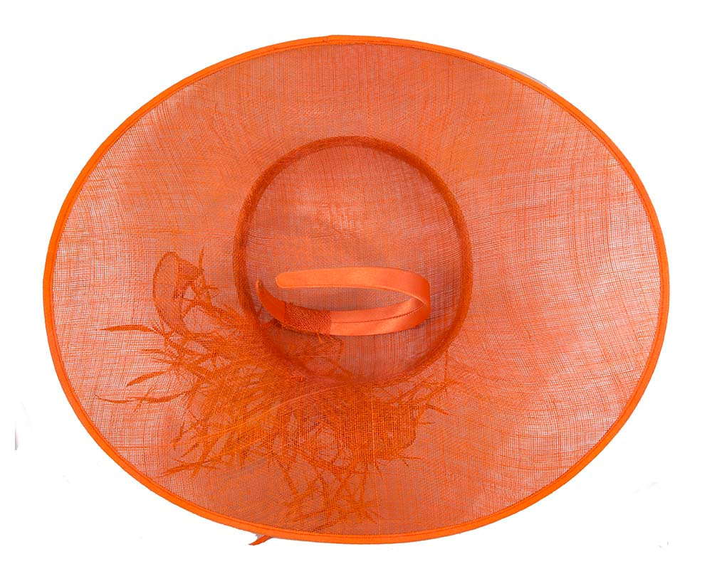 Large Orange Fashion Racing Hat by Cupids Millinery