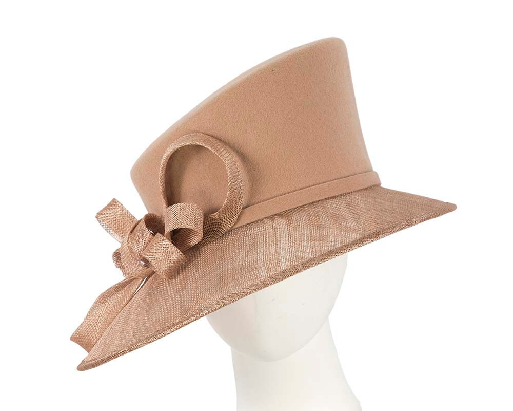 Beige ladies winter fashion hat by Cupids Millinery
