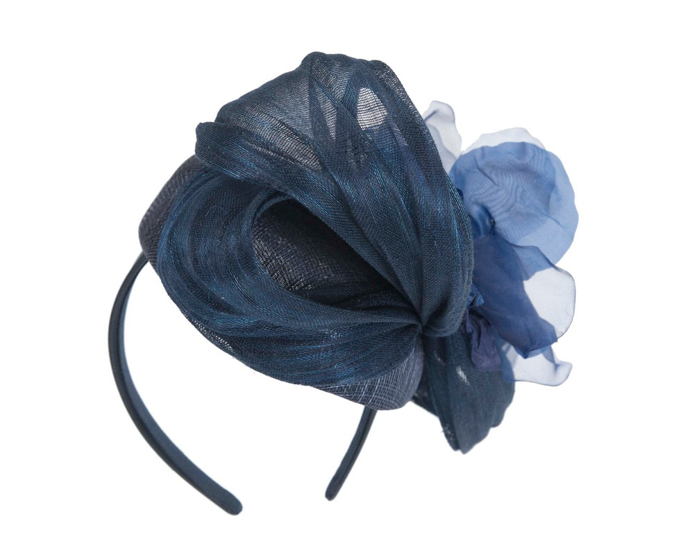 Astonishing navy pillbox racing fascinator by Fillies Collection