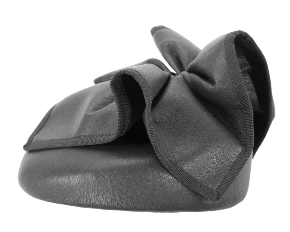 Black leather racing pillbox fascinator