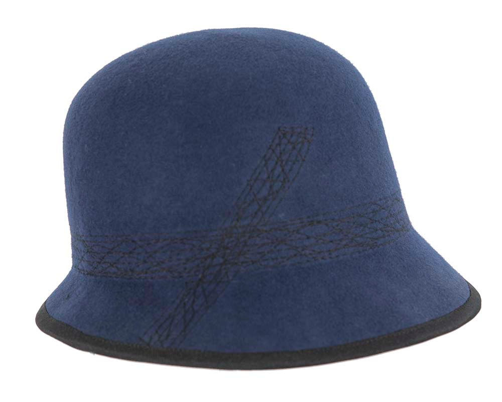 Navy ladies winter bucket hat by Cupids Millinery