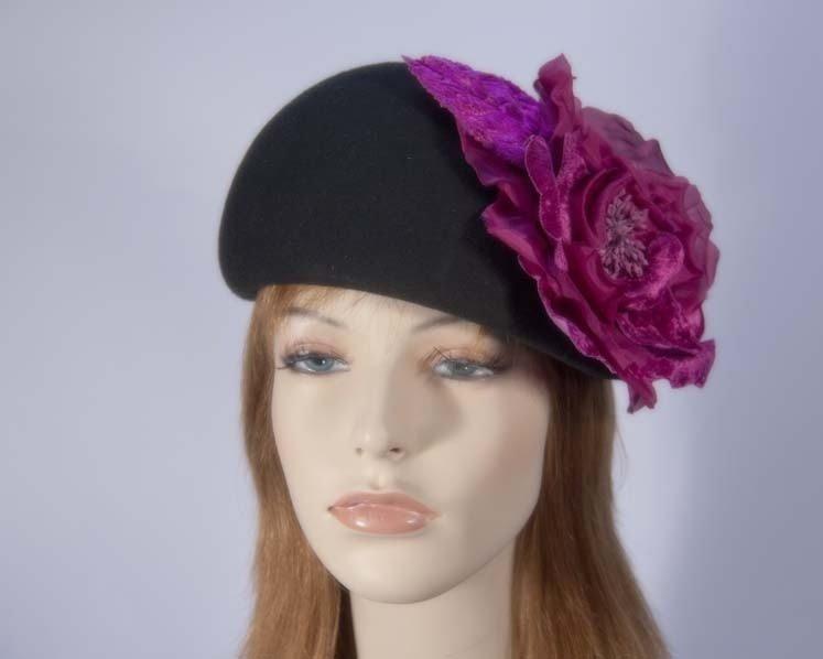 Black fuchsia winter fashion beret hat for races buy online in Australia F561BF