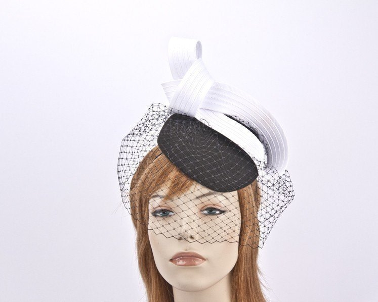 Black white vintage pillbox with face veiling F588BW