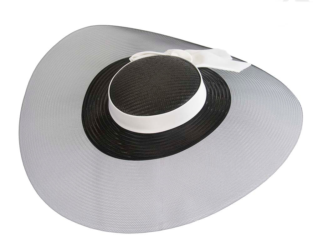 Bespoke black & white wide brim boater hat
