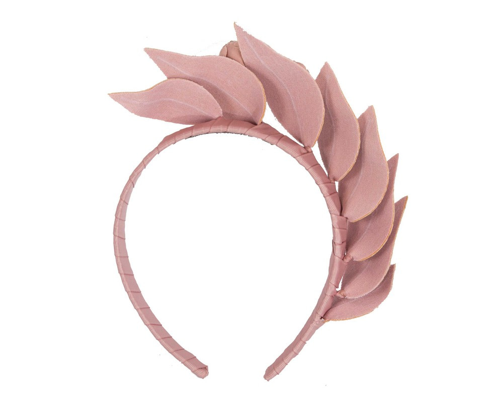 Taupe sculptured leather headband racing fascinator by Max Alexander