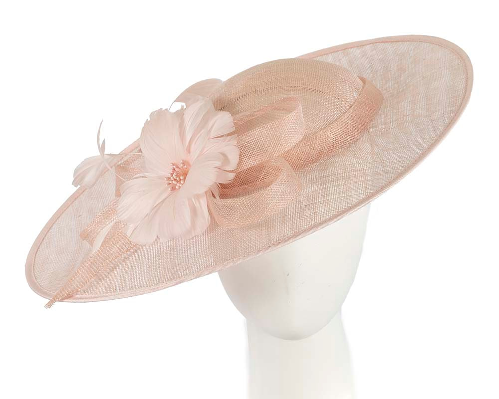 Large pink plate fascinator hat by Cupids Millinery Melbourne