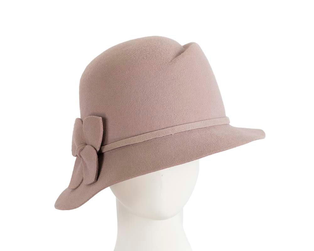 Wide brim ladies winter felt grey fashion hat