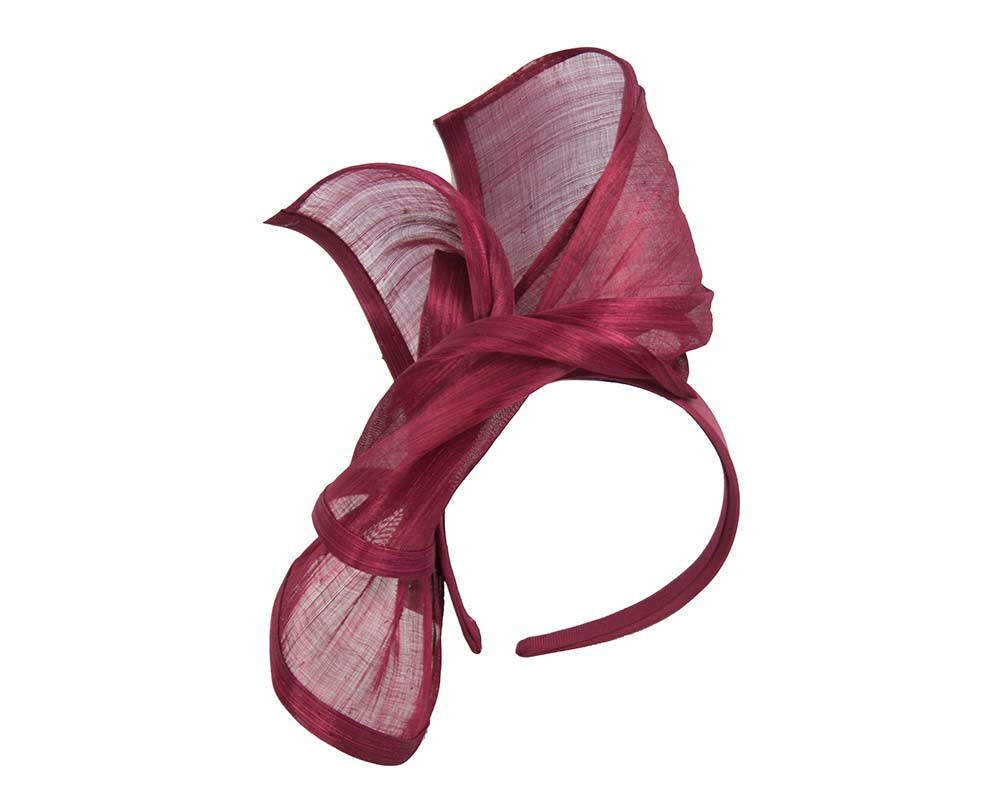 Bespoke wine silk abaca racing fascinator by Fillies Collection