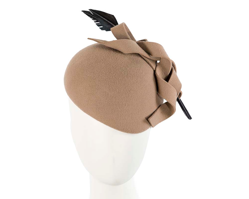 Large  felt beige beret fascinator hat by Cupids Millinery Melbourne