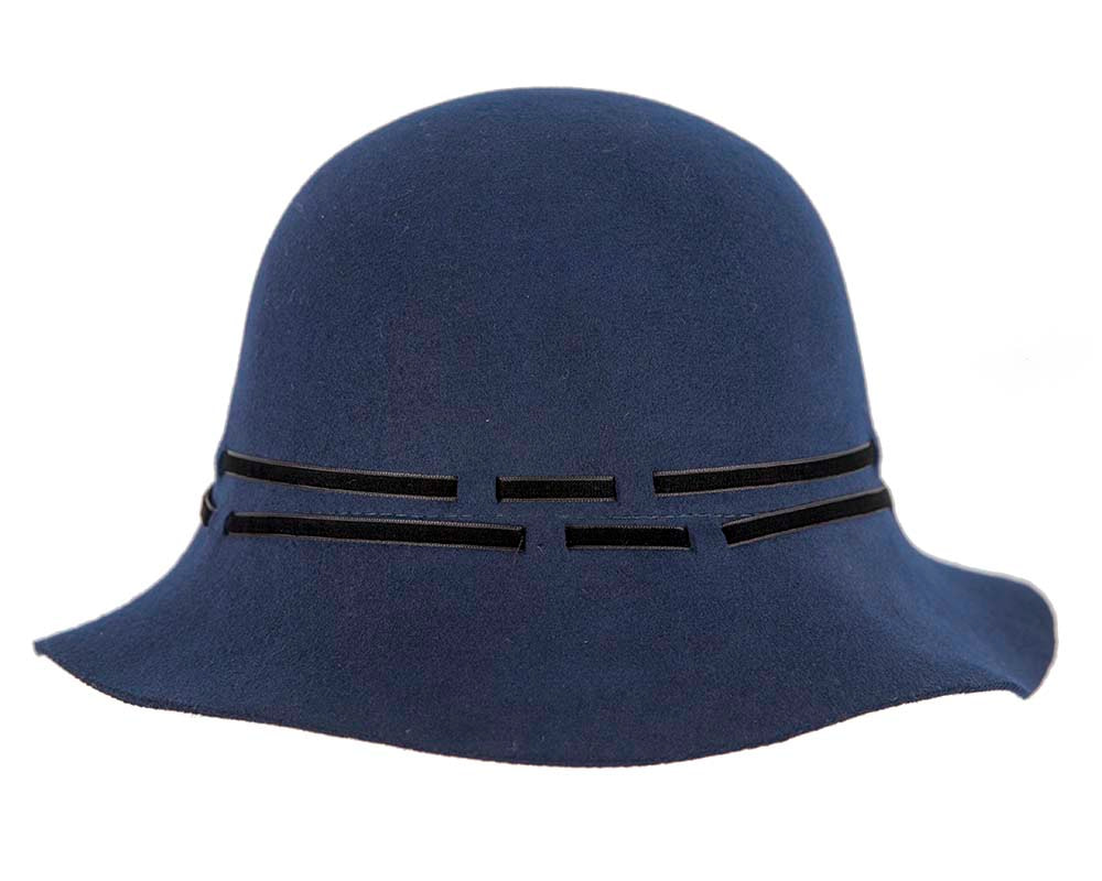 Wide brim navy cloche hat by Cupids Millinery Melbourne