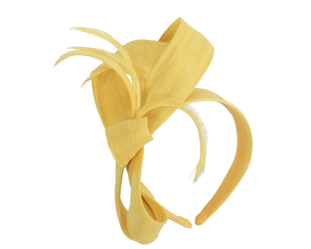 Yellow abaca loops and feathers racing fascinator by Fillies Collection