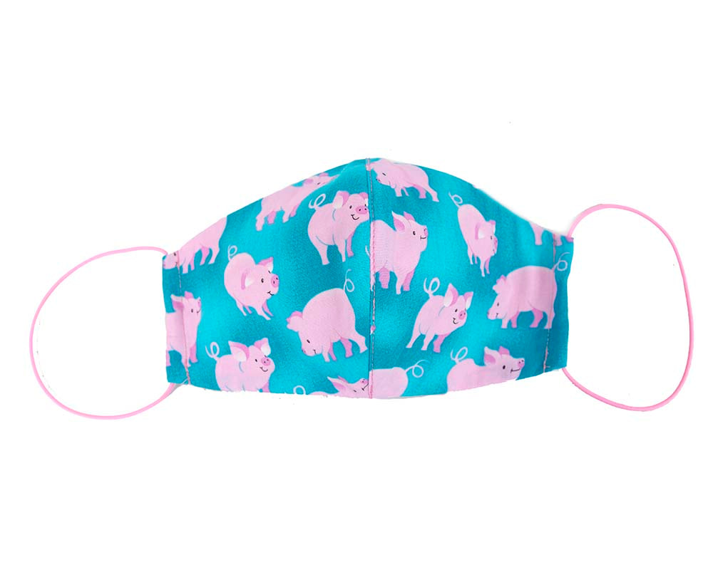 Comfortable re-usable cotton face mask with happy pigs
