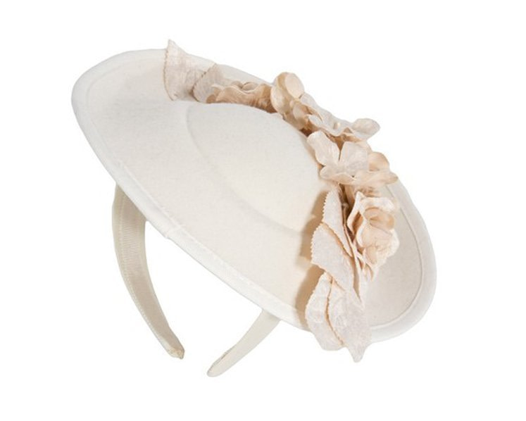 Large cream winter racing fascinator with flowers