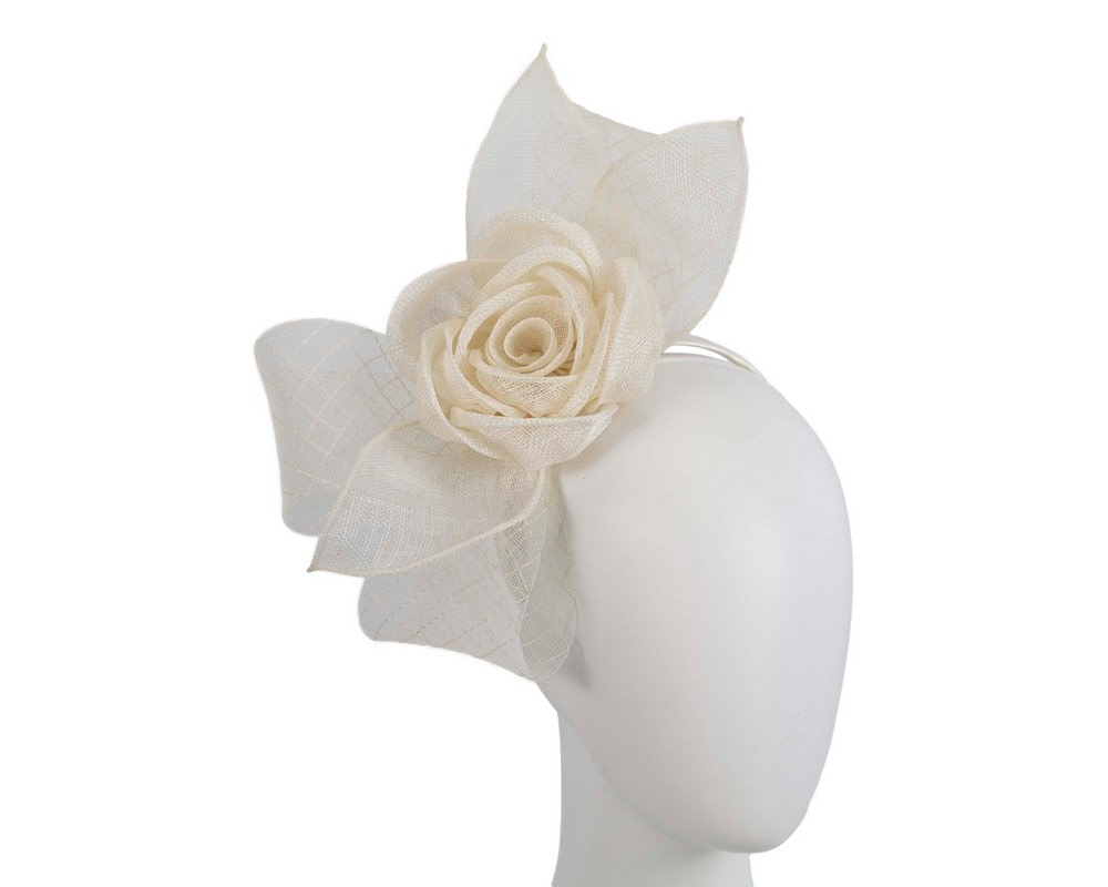 Large cream sinamay bow racing fascinator by Max Alexander