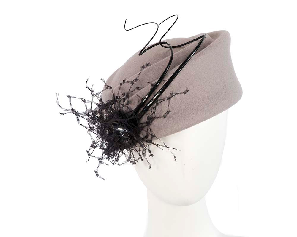 Large grey winter felt pillbox hat for races