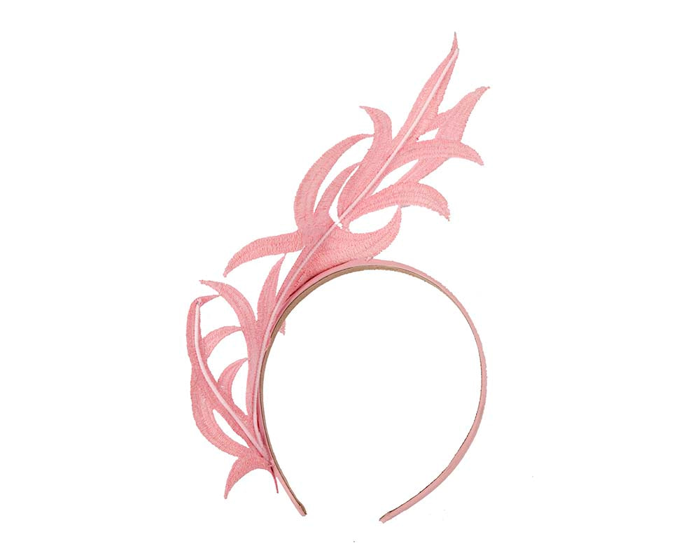 Pink lace crown fascinator headband by Max Alexander