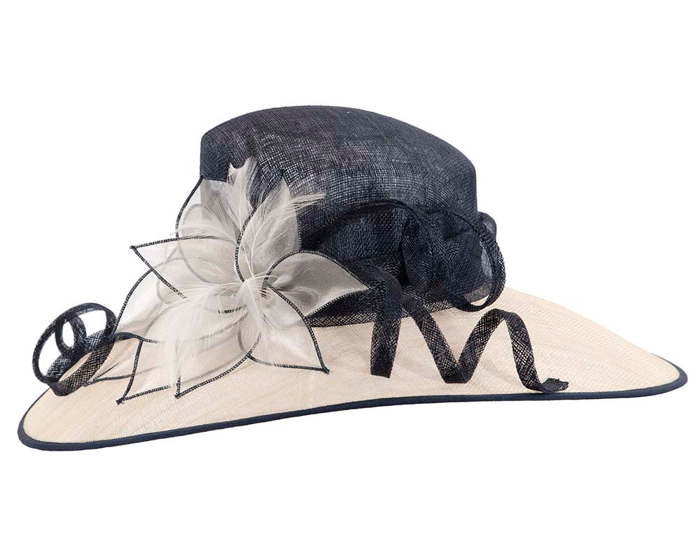 Large Navy & Cream  Fashion Racing Hat by Cupids Millinery