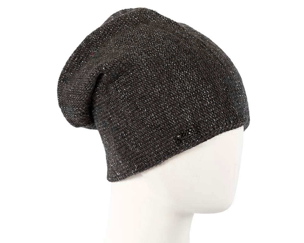 European made woven black beanie