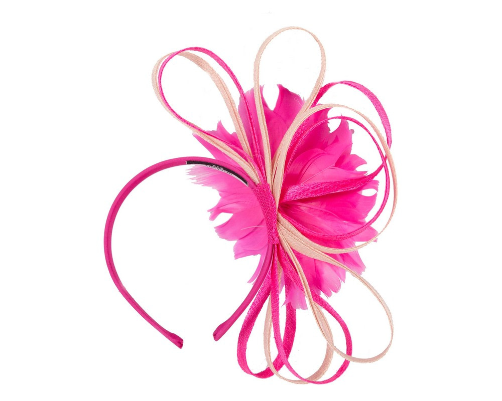 Large fuchsia & blush feather flower fascinator by Max Alexander