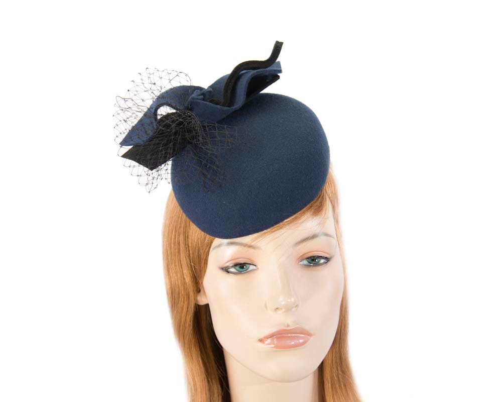 Navy winter felt pillbox