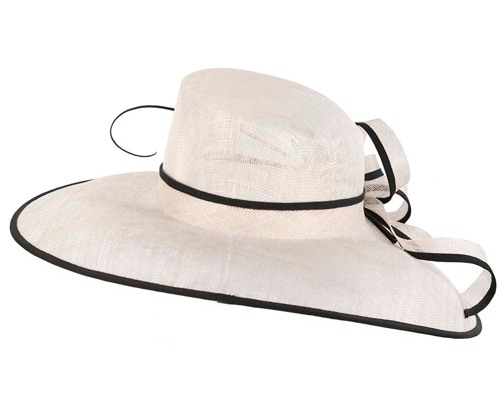 Large Ivory & Black Ladies Fashion Racing Hat by Cupids Millinery