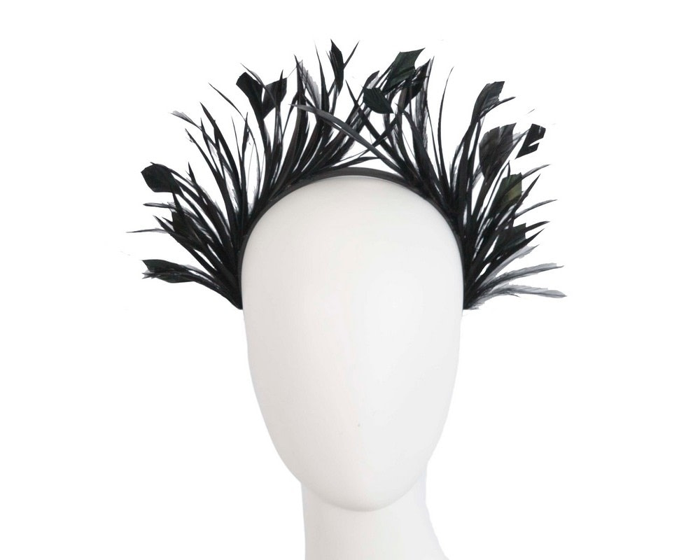 Black feather crown fascinator by Max Alexander