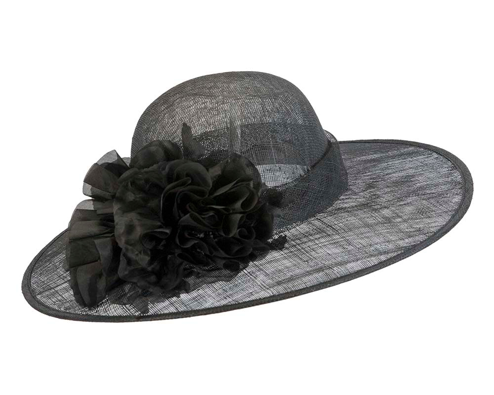 Black fashion racing hat with flower by Max Alexander