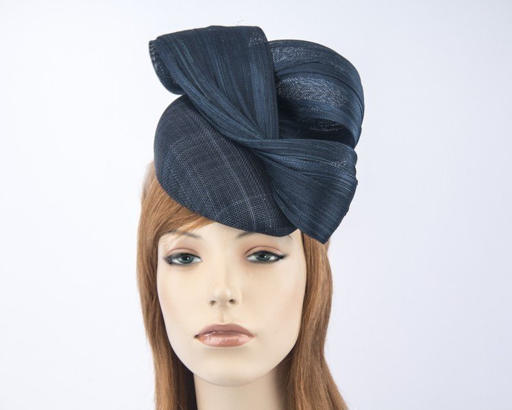 Navy pillbox fascinator for Melbourne Cup races by Fillies Collection