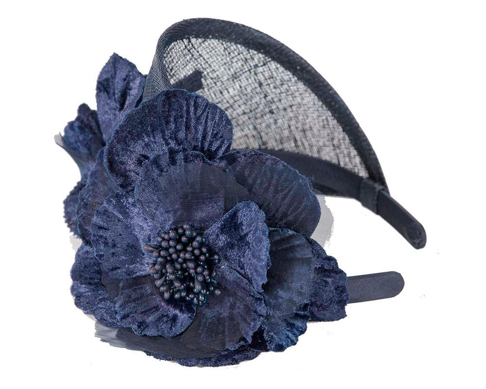 Wide navy flower headband fascinator by Max Alexander