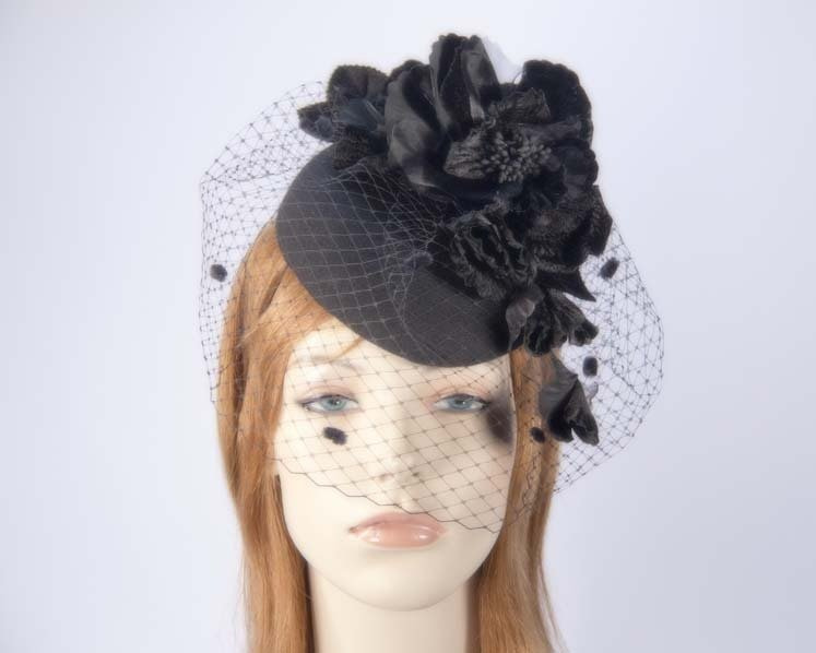 Black felt pillbox with flower and veiling for winter racing buy online in Aus F574B