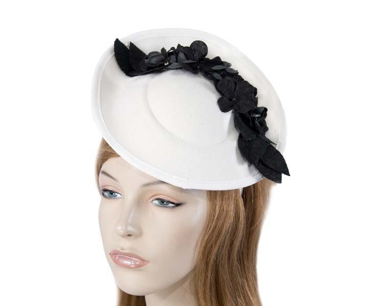 Large cream winter racing fascinator with black flowers