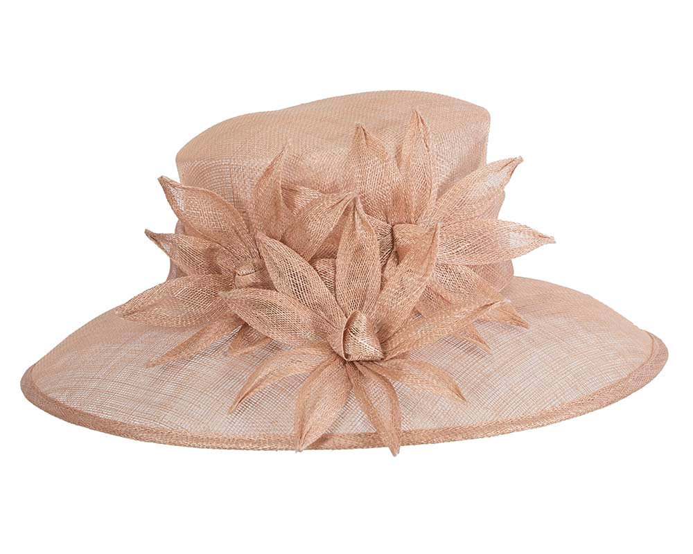 Large nude spring racing hat by Max Alexander