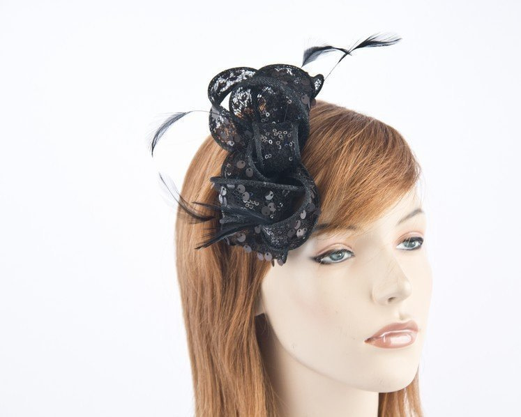 Small shiny black bow fascinator by Max Alexander MA706B